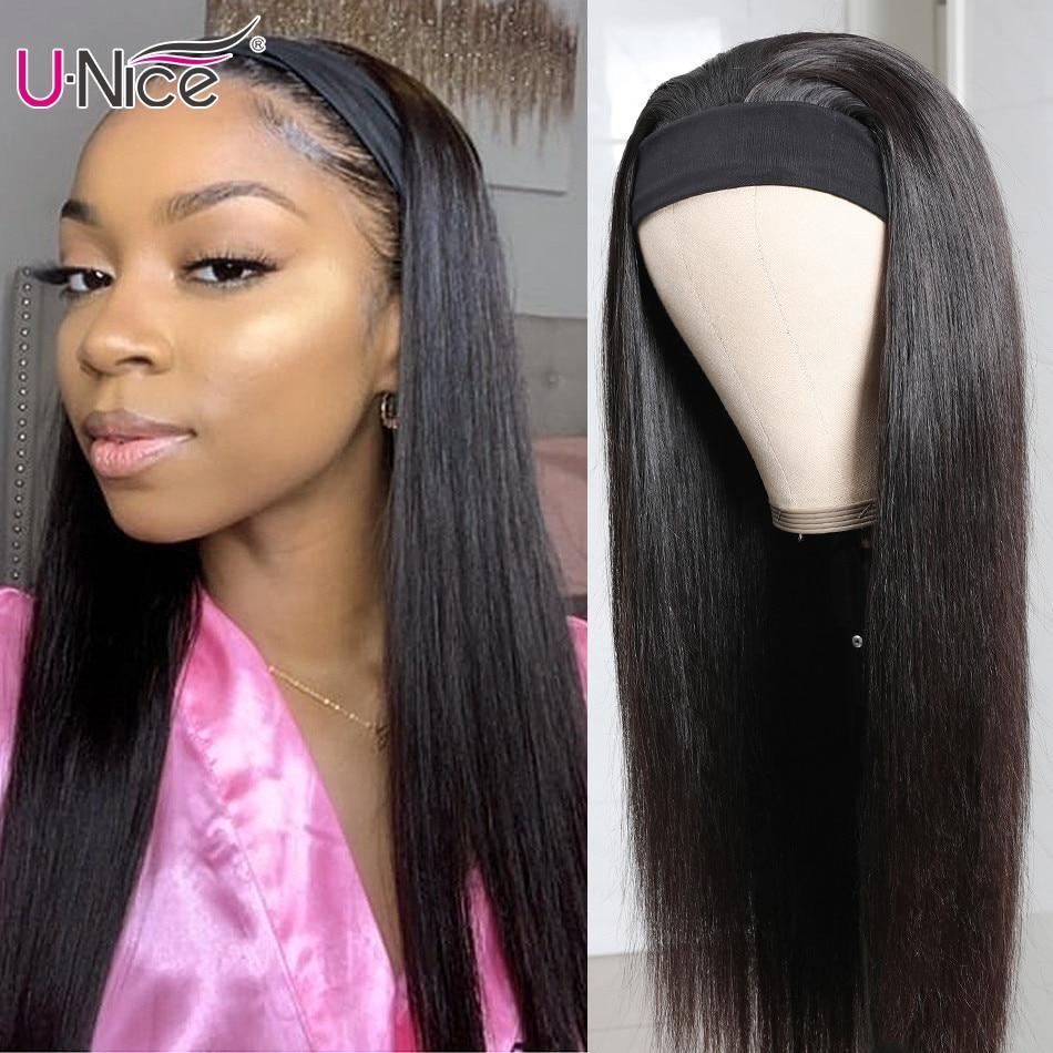 Unice Hair Straight Headband Scarf Wig Glueless Human Hair for African American Women Affordable Headband Wig Beginner Friendly