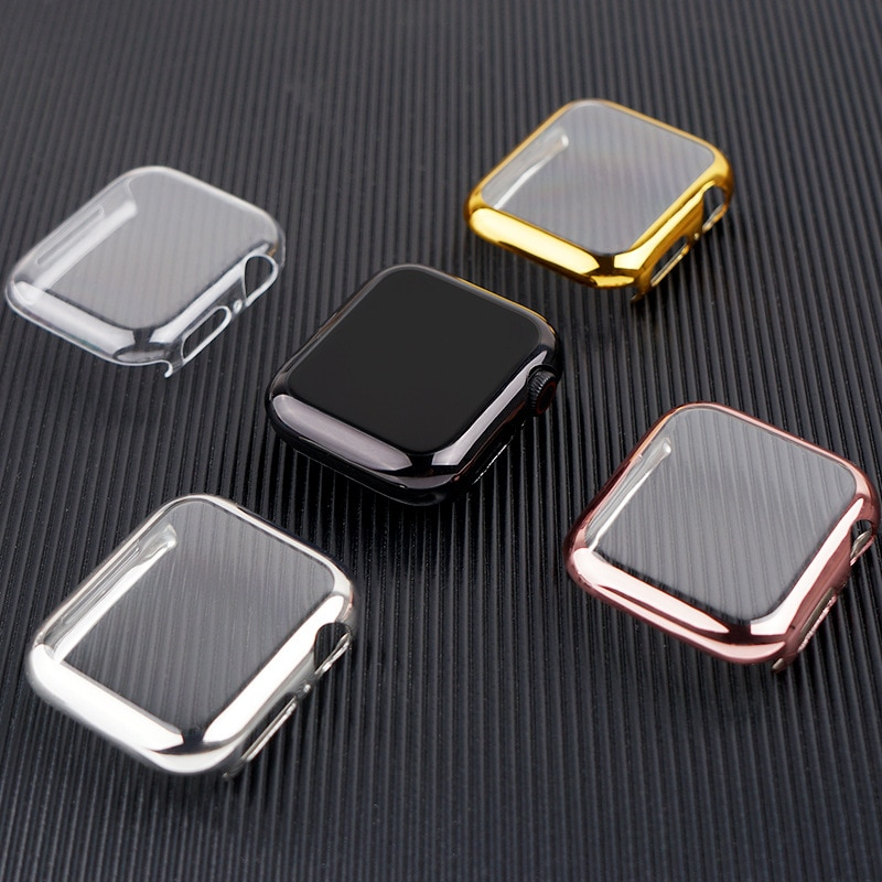 case for apple watch series 6 5 4 3 2 1 se band all around ultra thin screen protector cover iwatch case 44mm 40mm 42mm 38mm Cover for Apple Watch Case 44mm/40mm 42mm/38mm Accessories soft All-around TPU bumper Screen Protector iWatch Series SE 3 4 5 6