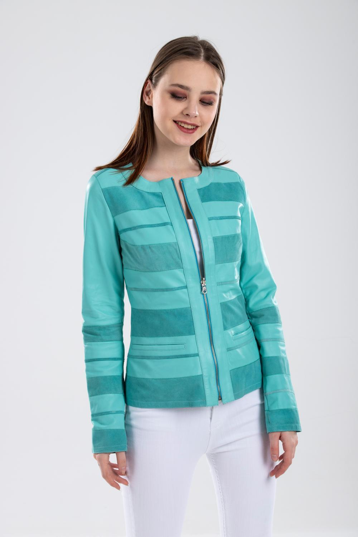 Бирюзовая двухсторонняя Женская куртка из натуральной кожи