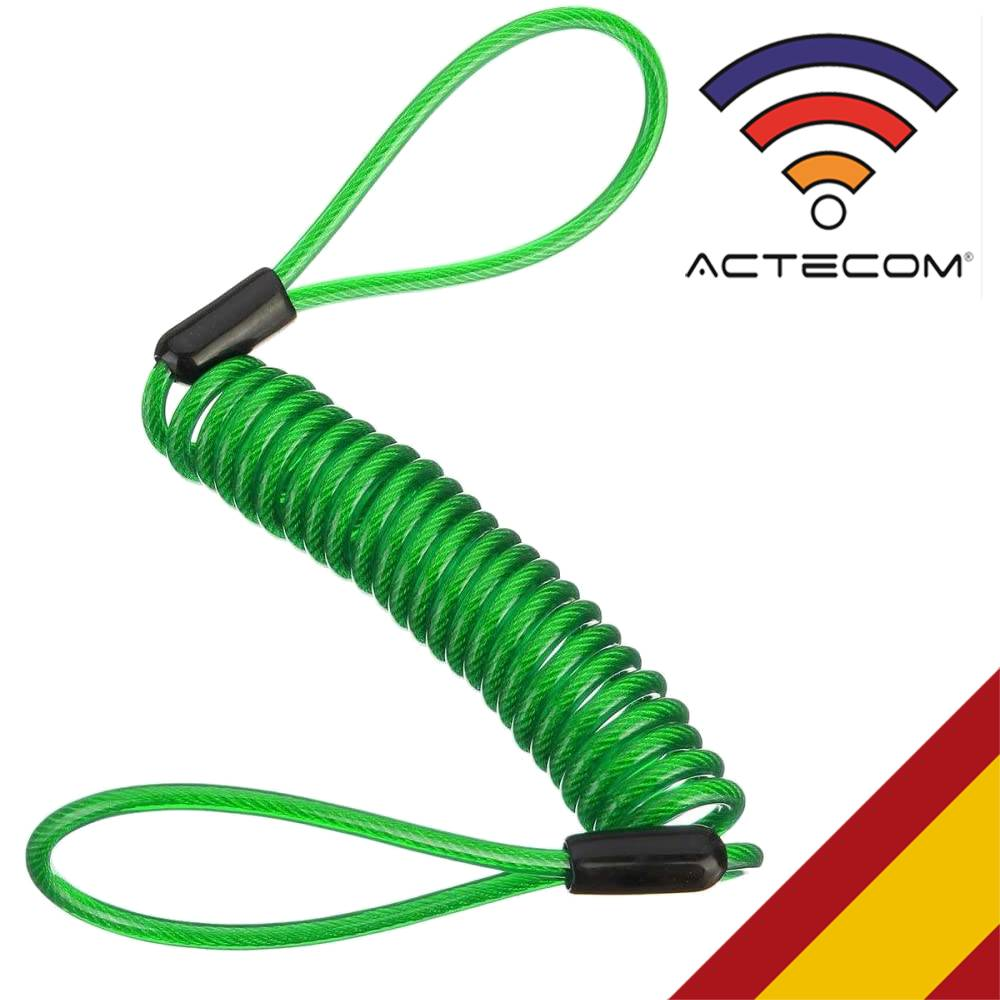ACTECOM Cable Enrollado para candado de Moto recordatorio para candados de moto espiral para motos