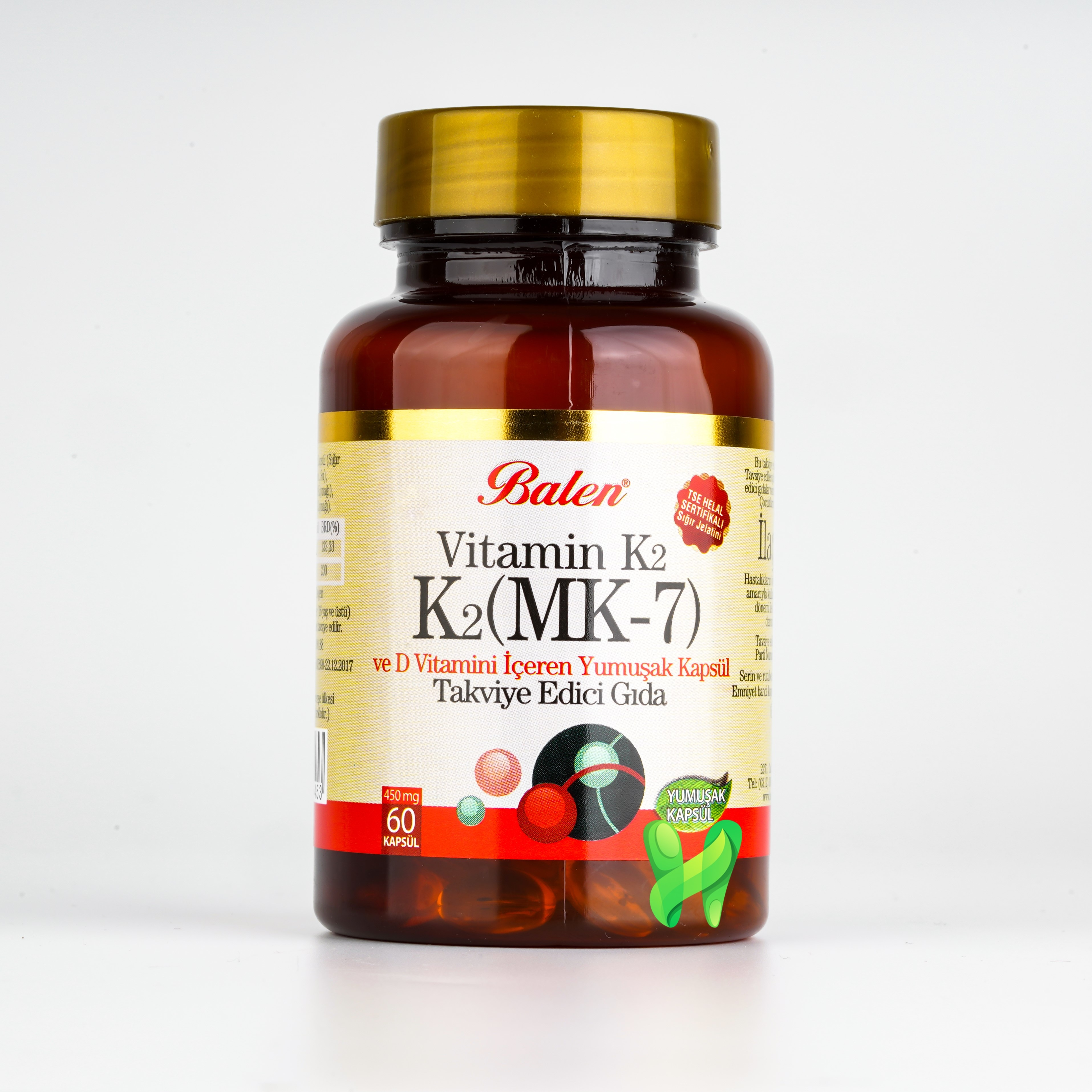 Vitamin K2 & Vitamin D, 60 Soft Capsules, 450 mg