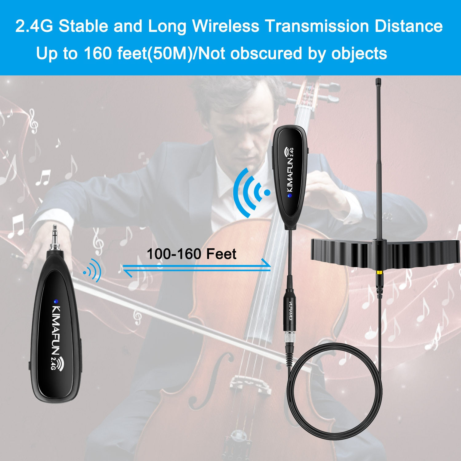 KIMAFUN Wireless Condenser Instrument Mic Cello Special Microphone For Stage Performance Wireless Musical Viola Microphone enlarge