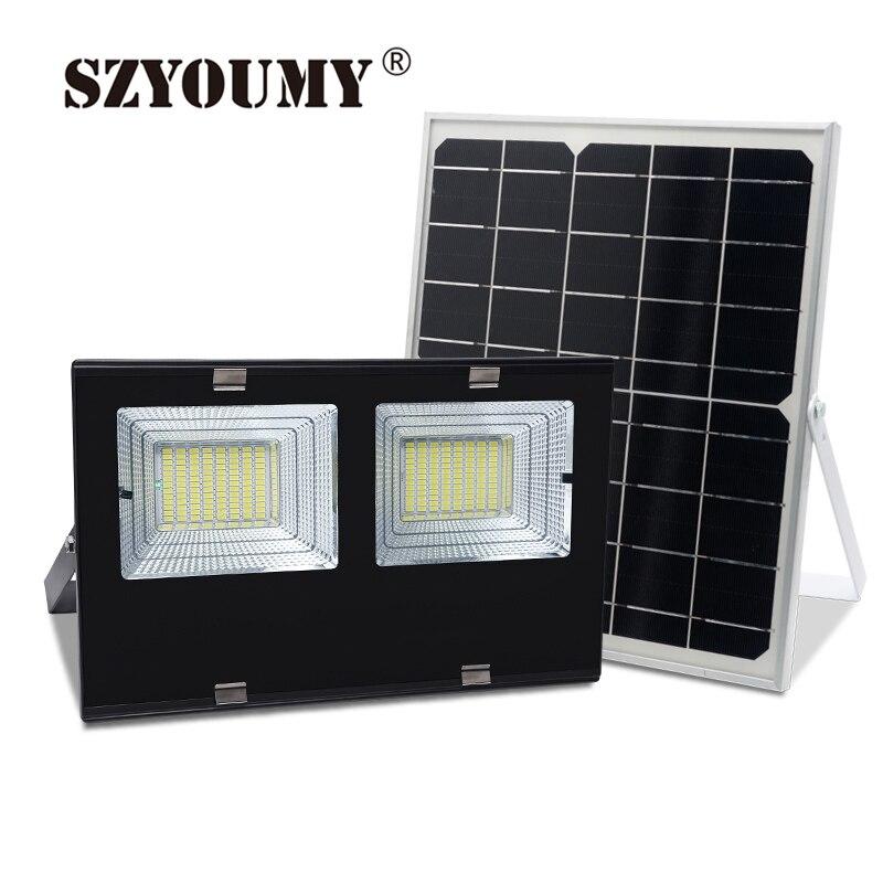 Proyector LED Solar de silicio cristalino SZYOUMY Mono 30W 60W 120W luz de Control remoto lámpara de calle con energía Solar 6500K