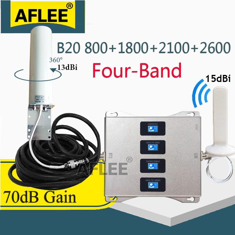 LTE B20 800, 1800, 2100, 2600 Mhz de cuatro banda celular amplificador 4G repetidor de señal GSM 2G 3G 4G amplificador de señal móvil LTE DCS WCDMA
