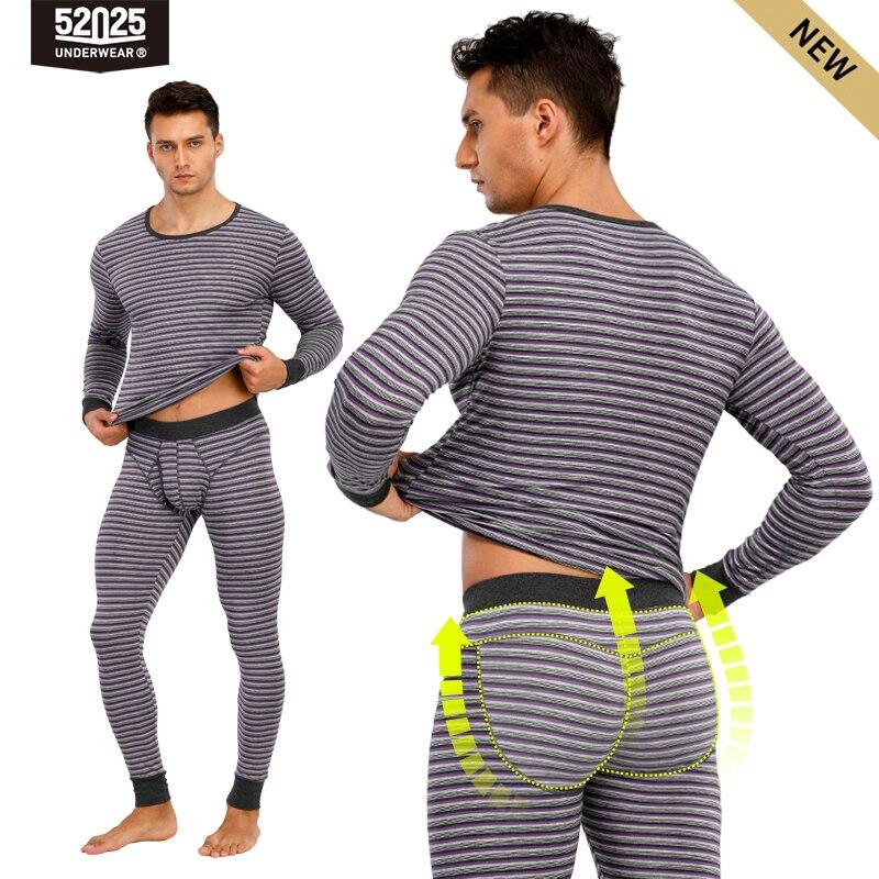 ملابس داخلية رجالية مخططة حرارية ، ملابس داخلية مخططة مصنوعة من القطن الناعم ، مريحة ، خصر عريض ، ملابس حرارية مخططة ، 52025