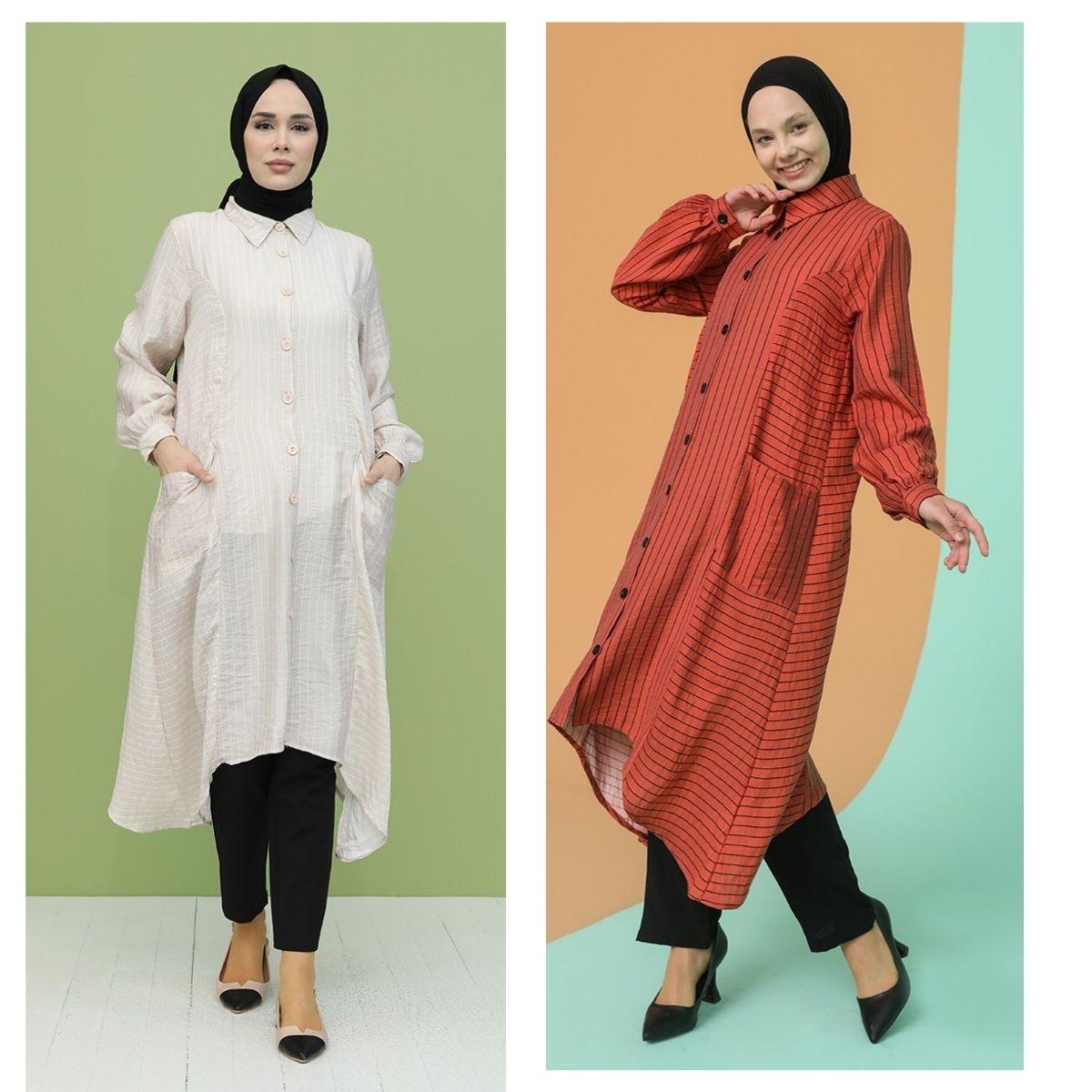 سترة مخططة بأزرار مع جيب غير متماثلة كم طويل ياقة صفر موسم لونين للنساء موضة إسلامية جلطة حجاب موسمية