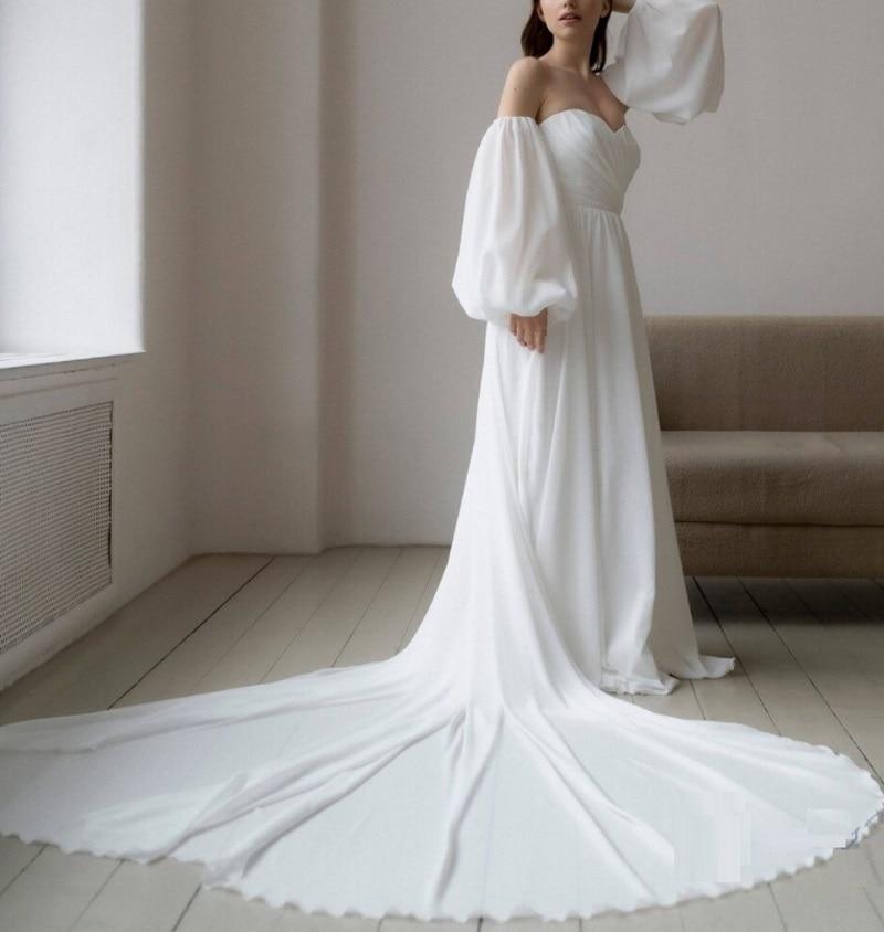 Review Detachable Sleeve Sweetheart  A-Line Boho Wedding Dress Chiffon Simple Sweep Train Bridal Gowns vestidos de mairee Wedding Dress
