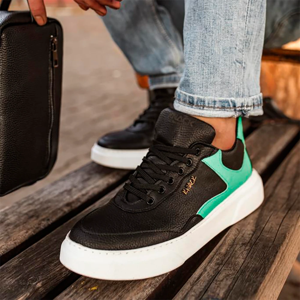 Knack Men's Shoes Black and Green Lace Up Non Leather Spring Autumn Seasons Mixed Color Casual Sport Walking Running shoes Men Original Sneakers Men Non-Leather Casual Shoes Men Casual Shoes Designer Shoes For Men R10