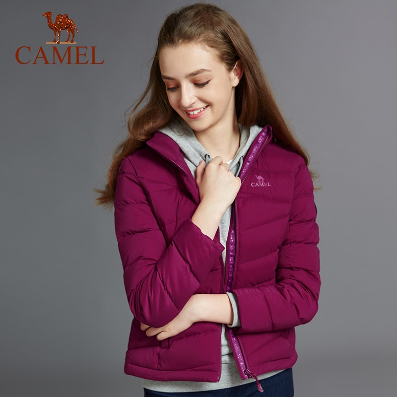 CAMEL New Arrivals Women Winter 90% Content White Duck Down Jacket Ultralight Down Jacket Outdoor Outerwear Snow Warm Fur Coat