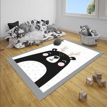 Tapis décoratif en microfibre pour filles   Gris, blanc, noir, imprimé 3d, antidérapant, tapis pour la zone, chambre denfants