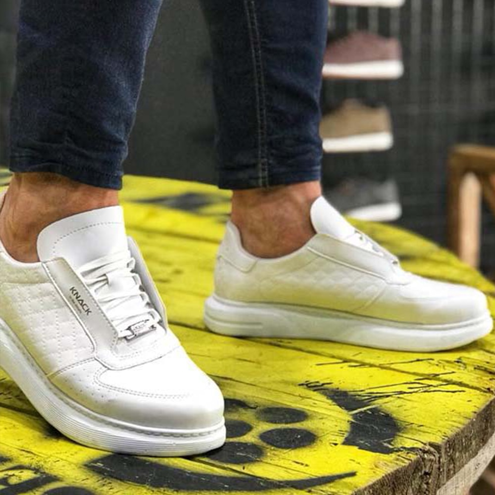 Knack Casual Sneakers White Quilted Color (White Sole) Faux Leather Lace-up Spring Summer Comfortable Stitched High Sole Mens Shoes Casual Men Sneakers Off White Shoes High Top Sneakers Brand Shoes For Men 2021 039