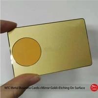 luxurious custom ntag213ntag215ntag216 black metal coated rfid nfc plated gold mirror metal business cards