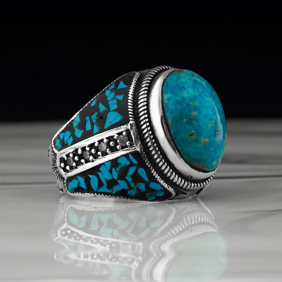 925 Sterling Silver Men's Ring with Turquoise Stone High Polishing othic Party Anniversary Middle East Turkish Jewelry,ring
