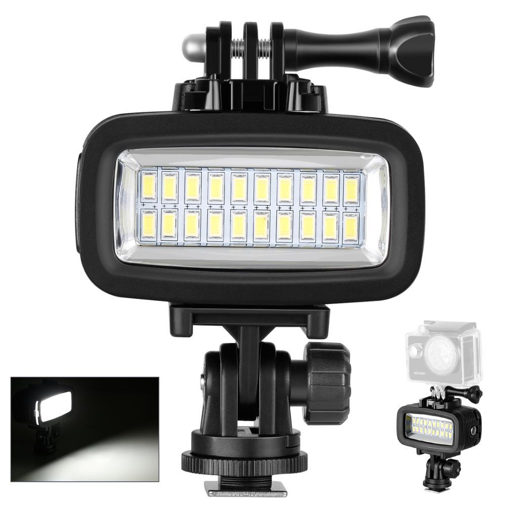 Neewer تحت الماء 20 LED 700LM فلاش عكس الضوء ملء ضوء الليل مع فلتر اللون ل GoPro بطل 10 9 8 7 6 5 4 3 + عمل الكاميرا
