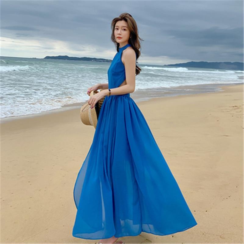 فستان شاطئ طويل متدلي ، لون أزرق ، ملابس صيفية للنساء ، عطلة على شاطئ البحر ، تايلاندي ، مثير ، رسن ، ياقة معلقة ، لون سادة