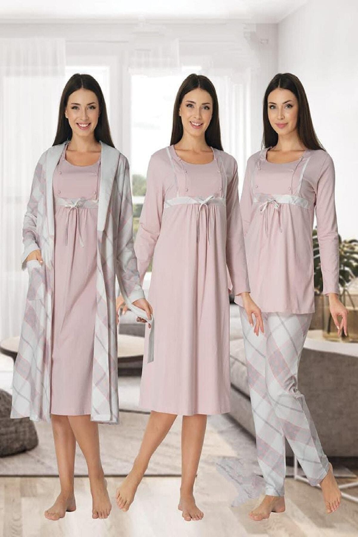 Lohusa Dünyasi Women Plaid Long Sleeve Nightgown Pajamas Set 4-Piece Gray Red Gray Navy Blue Pink Blue enlarge