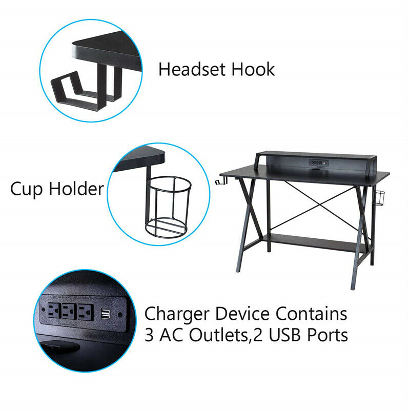 Home Office Gaming Desk Computer Desk Writing Table Workstation PC Stand Shelf Power Strip W/ USB Cup Holder & Headphone Hook