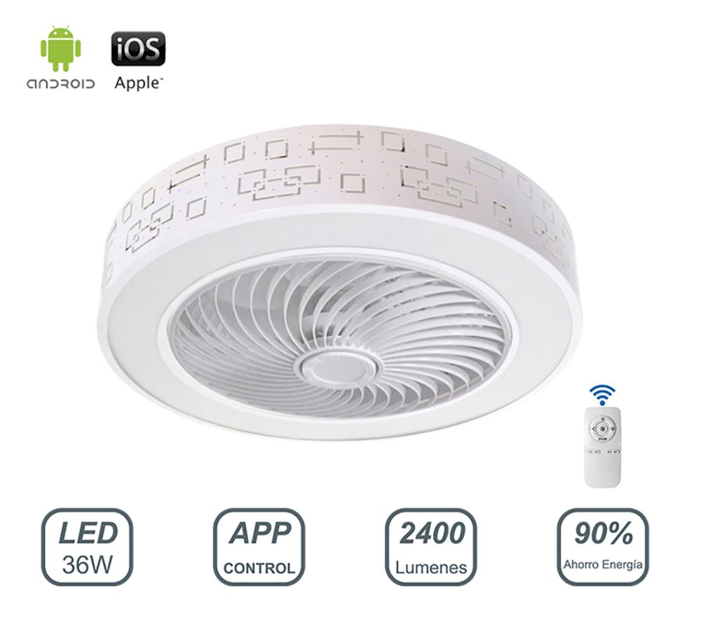 Ceiling fan with light LED lamp 36W App Control with remote Control light dimmable Cold Light/neutral/warm Φ51 * H24cm