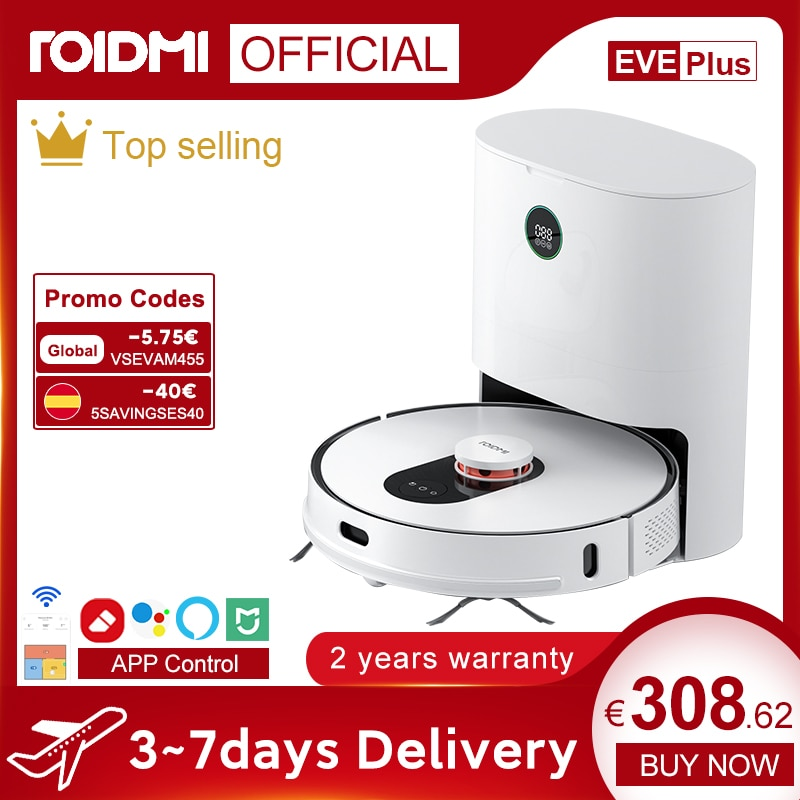 ROIDMI EVE Plus Robot Vacuum Cleaner with Smart Dust Collection Mop Cleaner Support Mi Home APP Control Google Assistant Alexa