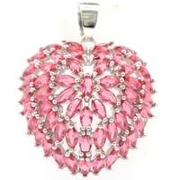 40x28mm shecrown delicate heart rhodolite garnet london blue topaz women fine jewelry 925 sterling silver pendant