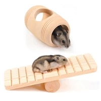 hamster seesaw and hamster wooden barrel toy sets natural wooden hamster toys rest and play chew toy