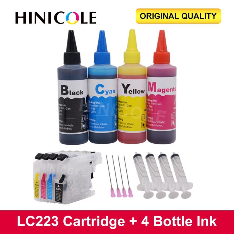 HINICOLE زجاجة الحبر 100 مللي لأخيه LC 221 223 225 227 229 MFC-J4420DW J4620DW J4625DW طابعة + LC223 XL عبوة خراطيش الحبر