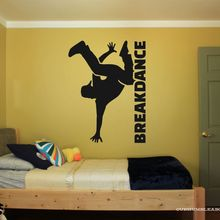 Breakdance Silhouet Met Woord Muursticker Decal Dance Sticker Thuis Slaapkamer Wall Art Decoratie A00917