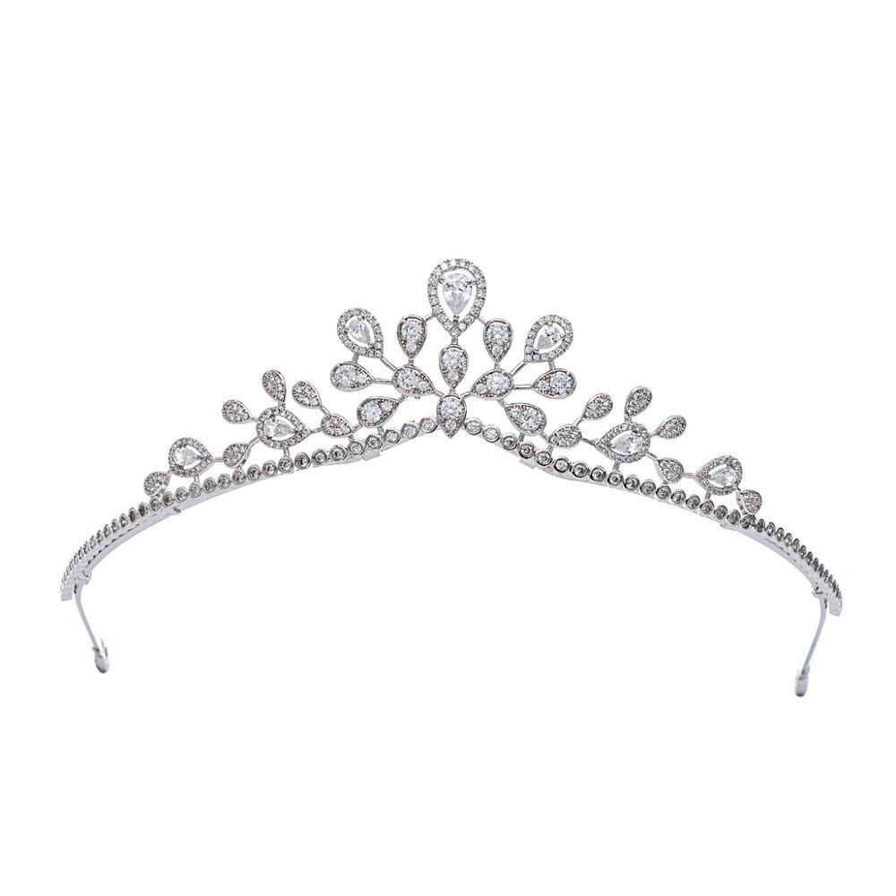 2020 تصميم زركون الأميرة تيارا الإكليل لل زفاف الزفاف مجوهرات اكسسوارات الشعر قطع الشعر CH10343