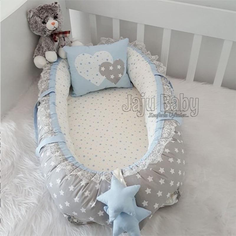 Jaju Baby Nest Blue Star Luxury Orthopedic Baby Bed Babynest Custom Design Baby Cot Bedding Set Baby Crib Bed Linen