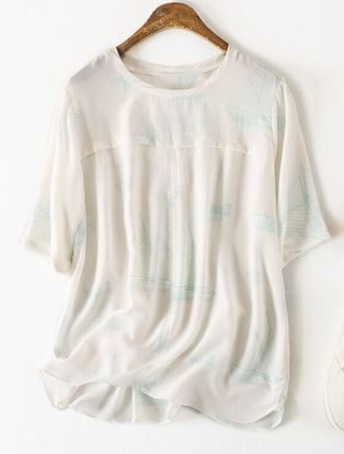 Ligentleman primavera nueva llegada alta calidad 100% seda Oficina señora blusa media manga larga