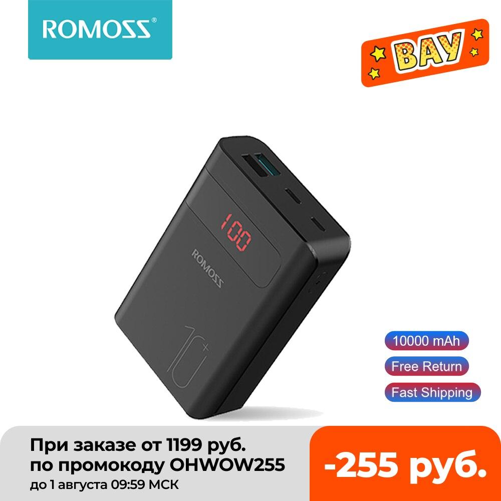ROMOSS Sense4PS + باور بانك 10000mAh شاحن محمول LED بطارية خارجية PD 3.0 شحن سريع Powerbank آيفون شاومي mi
