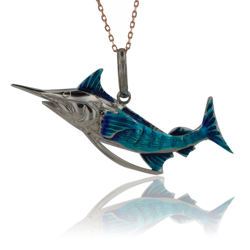 ¡Nueva tendencia! Collar de pez espada con dije de moda 925, colgante esmaltado de plata, Animal de mar, encanto de océano, regalo náutico de dama de honor, Merlín azul