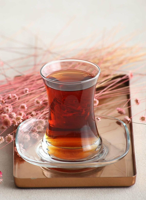 6 أكواب شاي و 6 صحون شاي (طقم أكواب شاي تركي كلاسيكي)