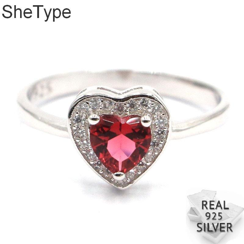 10x10mm, forma de corazón romántico, 2,2g, rosa, frambuesa, rodolita, granate, CZ, regalo para niñas, anillos de plata esterlina sólida 925