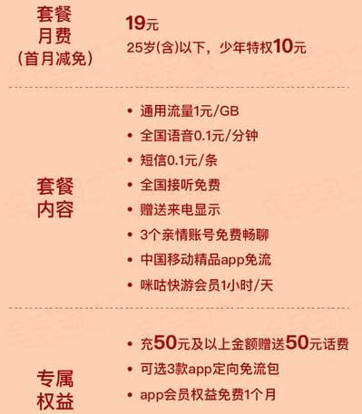 中国移动推移动花卡宝藏版套餐:少年特权 95后10元/月,3个亲情号免费打!爱奇艺、优酷、喜马拉雅等会员任选一,多款应用免流量