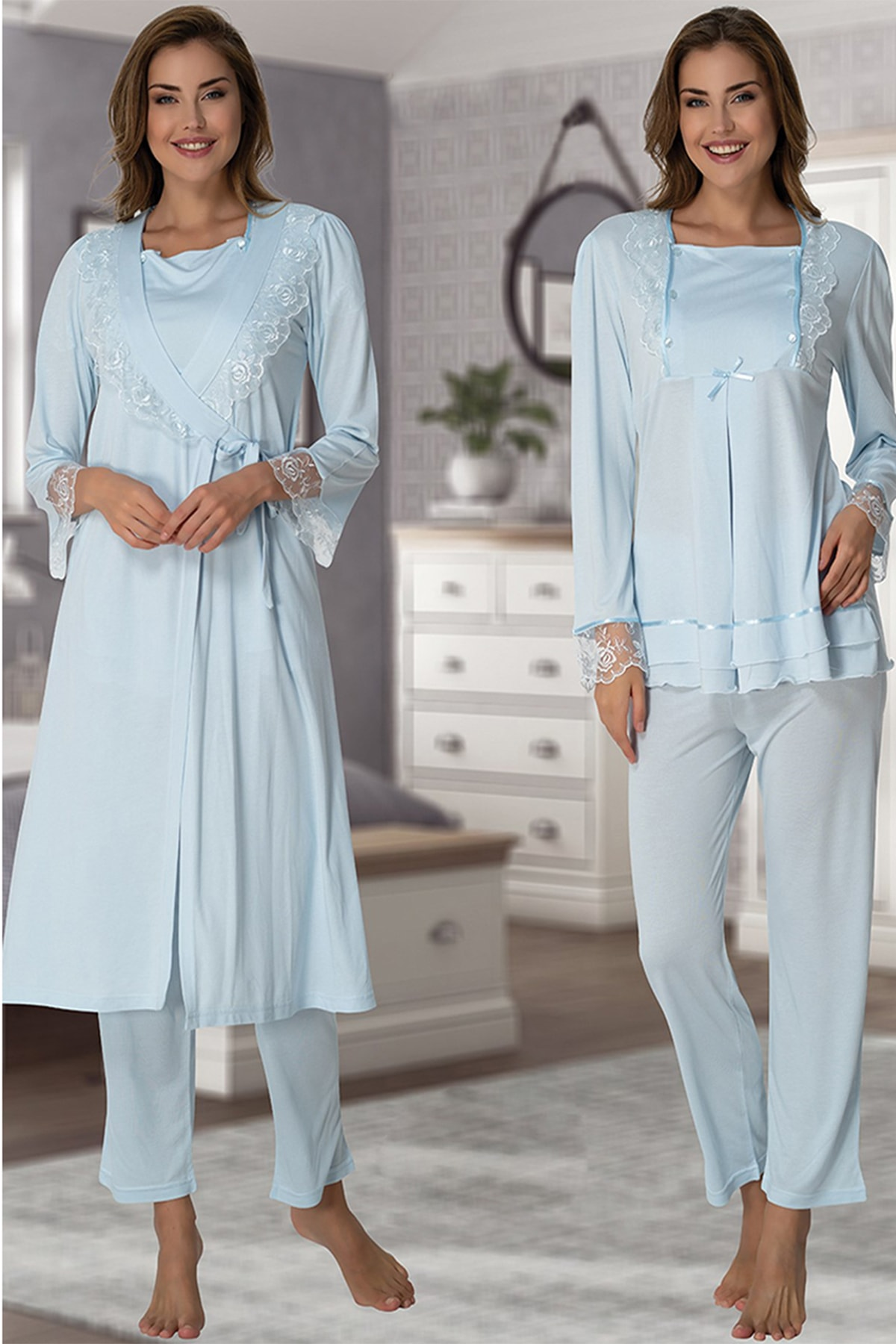 Effort Pajamas Women Velvet Dressing Gown Lohusa Pregnant Pajamas Set Cotton Comfortable Soft enlarge