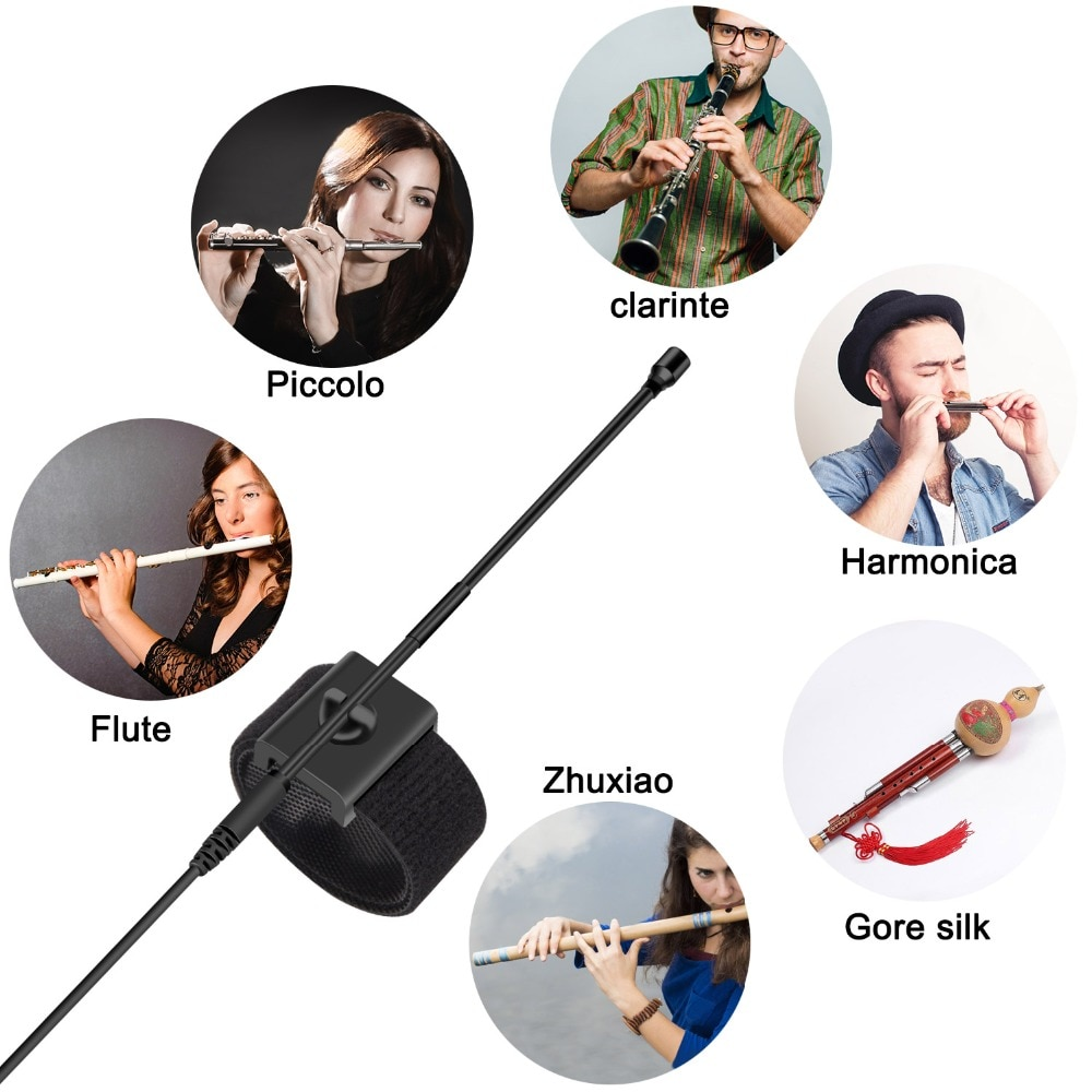 KIMAFUN Mini Gooseneck Instrument Flute Omnidirectional Condense Microphone Clip for Stage Performance Lapel Collar Pickup Mics enlarge