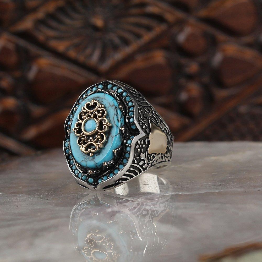 خاتم حجر تركواز طبيعي للرجال خاتم طاقة تقليدي مصنوع يدويًا 925 خاتم فضة خواتم سينجنت تركية مجوهرات روك هدايا للرجال النساء
