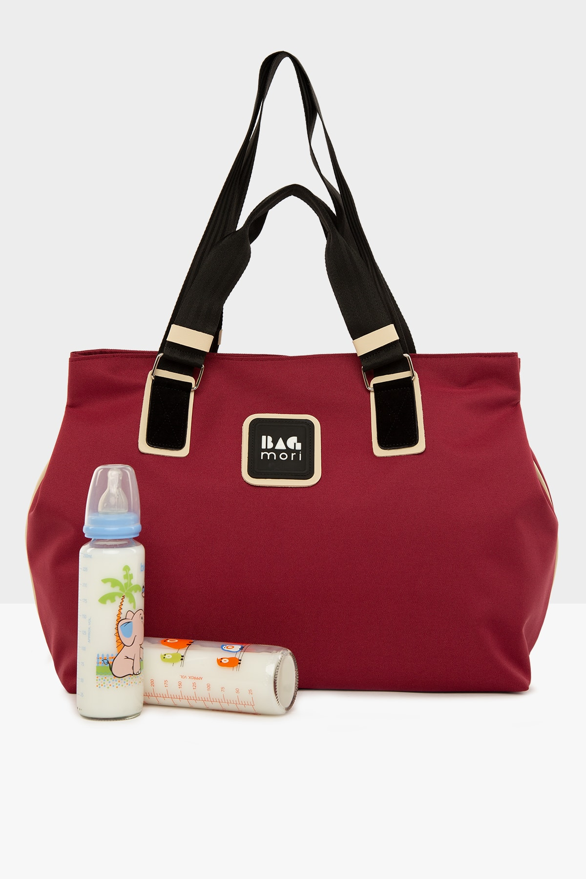 Claret Red Women's Garnished Mother Baby Care Bag with Snap Fastener for mom lunch bag for kids brea