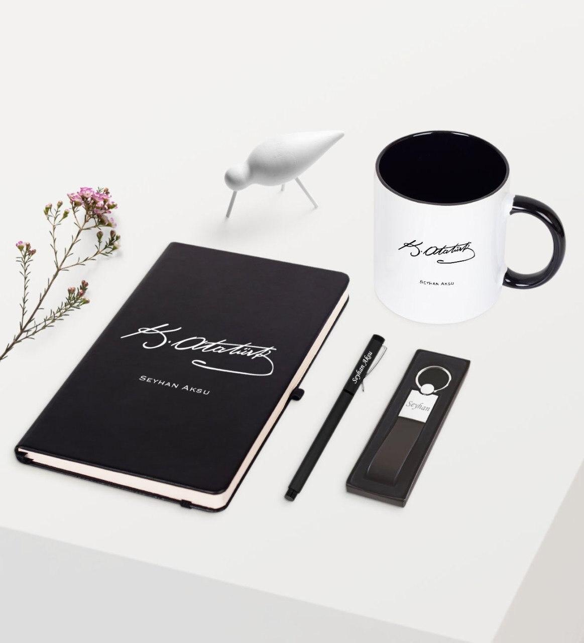 Personalized Ataturk Themed Black Notebook Pen Keychain Mug Set-6