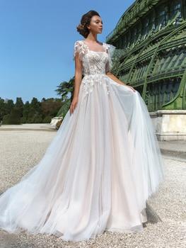 Floral Appliques Outdoor Beach Wedding Photos Dress Custom Made Vintage Cap Sleeves Plus Size Beads Bridal Gown Vestido De Noiva