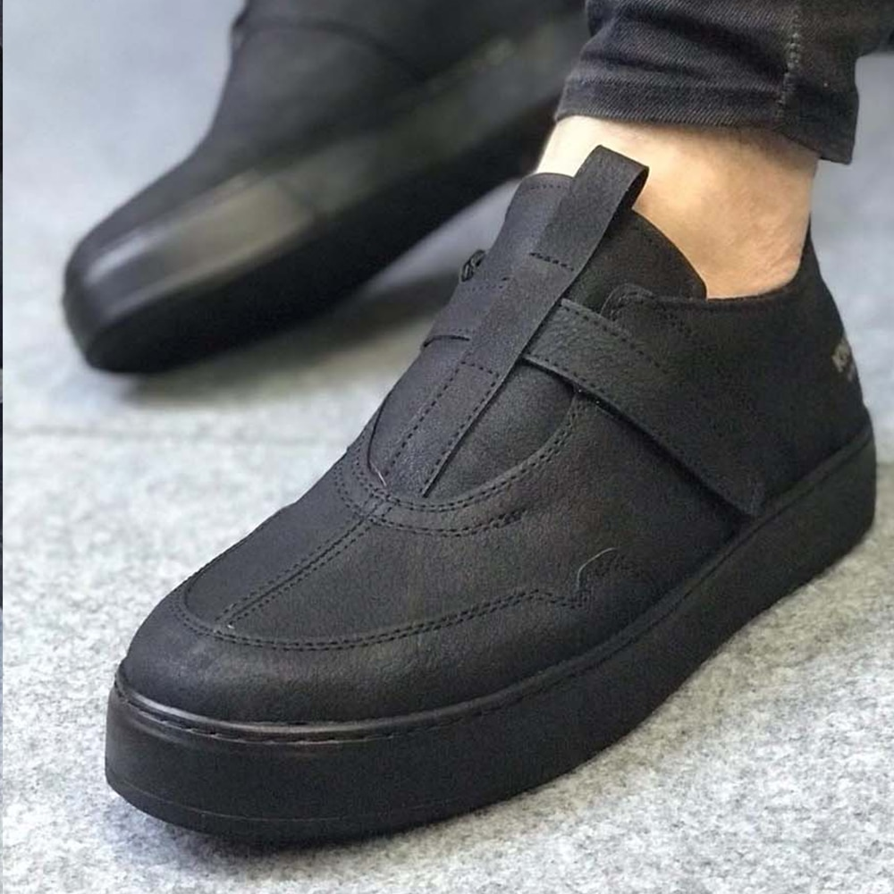 Knack Men's Shoes Black Color Faux Leather Hook and Loop Closure Type Spring Fall Seasons shoes for men with free shipping Luxury Shoes Safety Shoes Shoes Men Original Sneakers Men Shoes Men Vip  Mens Casual Shoes  333