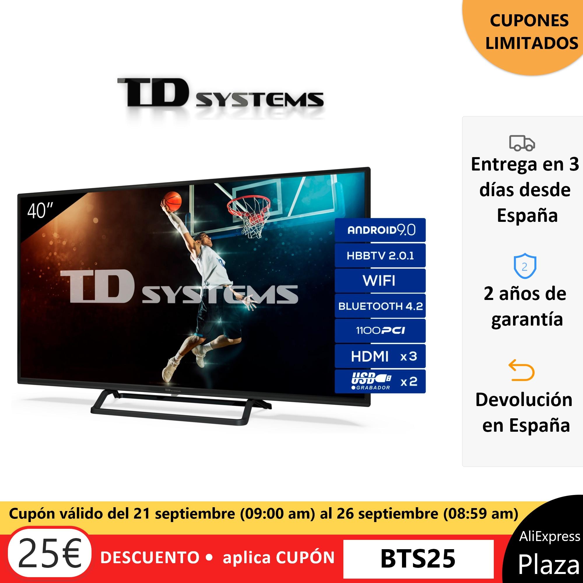 Televisores Smart TV 40 Pulgadas TD Systems K40DLX11FS  [Envío desde España, garantía de 2 años] 3x HDMI, DVB-T2