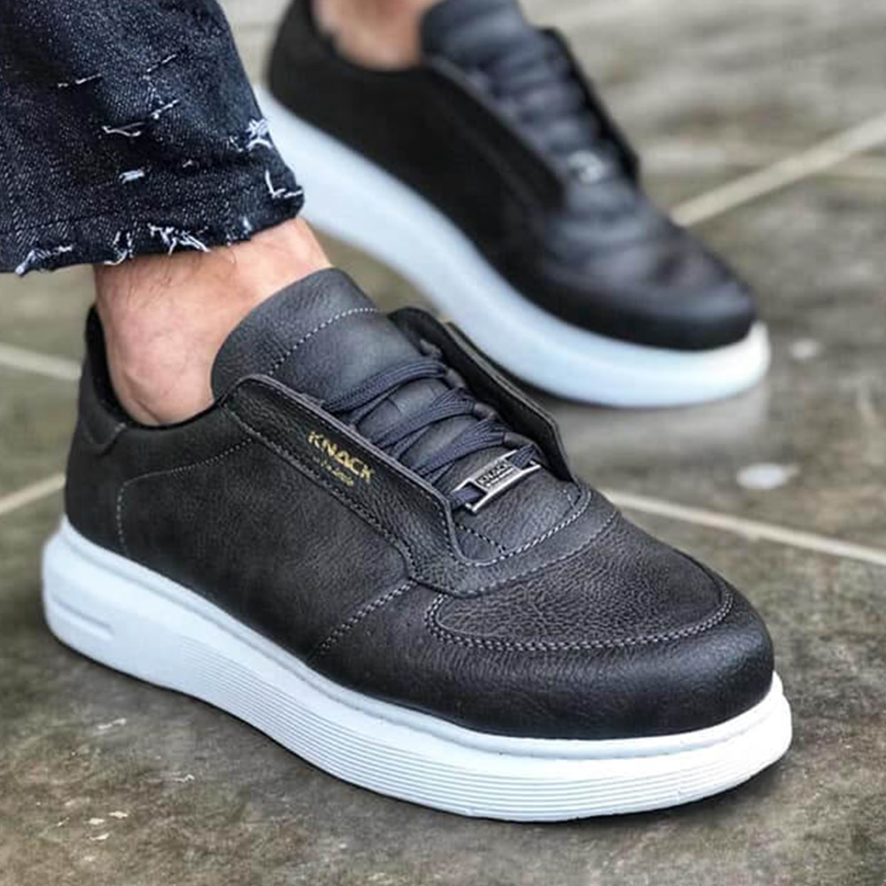 Knack Casual Sneakers Gray Color (White Sole) Artificial Leather Material Lace-Up Stitched High Sole Vivid Color Teenager Shoes Shoes For Men With Free Shipping Mens Shoes Casual Sneakers Men Dress Shoes Quality 039