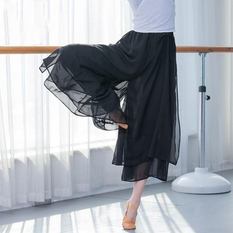 Брюки-Палаццо женские шифоновые Свободные плиссированные, широкие штаны, шаровары для танцев, юбка-брюки с цветочным принтом, черные