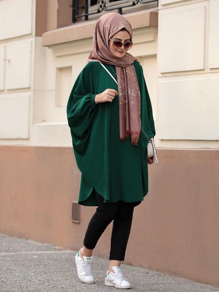 تونك حجاب للنساء المسلمات ، تونك حجاب ، موضة واسعة ، أكمام الخفافيش ، قماش كريب عالي الجودة ، المملكة العربية السعودية ، دبي ، أوروبا ، نموذج ...