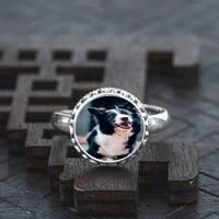 925 sterling silve ring black border collie adjustable wedding dress for women girls ladies 1pcsset 2020 hot vintage mini