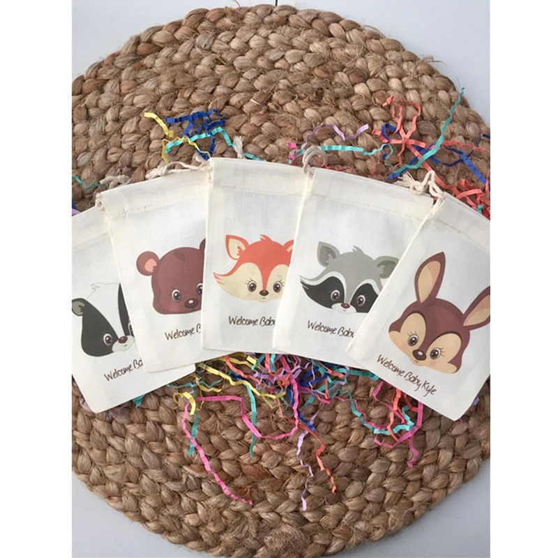 Bolsa de Presente Personalizado do Tema do Bebê do Chá de Fraldas dos Bolsas do Favor da Festa da Floresta Favor Festa Floresta do da