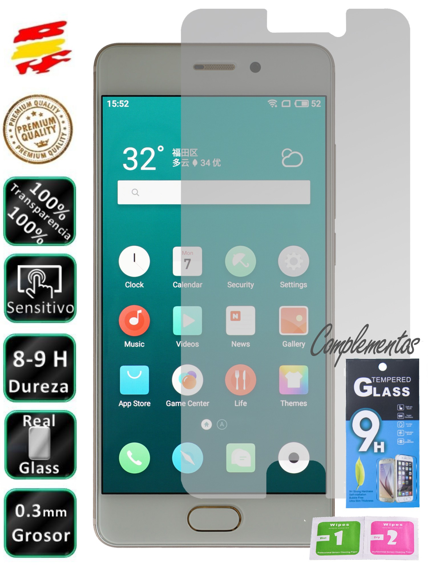 Meizu Pro 7 tempered glass screen Protector 9H for movil