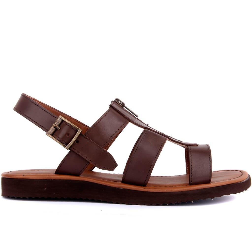 Sail Lakers-Brown Leather Men Sandals Men Genuine Leather Sandals Summer Classic Men Shoes Slippers Soft Sandals Men Roman Comfortable Walking Footwear